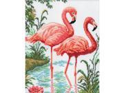"""Flamingos Counted Cross Stitch Kit-10-1/4""""X12-1/4"""" 14 Count"""
