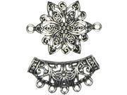 Jewelry Basics Metal Accents 2/Pkg-Silver Flower W/Bail