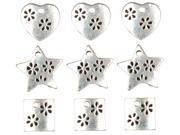 Jewelry Basics Metal Charms 9/Pkg-Silver Heart/Star/Square
