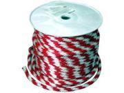 Wellington-Cordage 46411 5/8-In. X 200-Ft. Solid Braided Derby Rope, Red/White