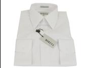 Men's Modena Solid White Barrel Cuff Dress Shirt