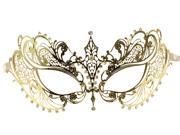 Gold Masquerade Mask - Laser Cut Metal and Rhinestones