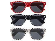 Women's Polka Dot Cute 80's Classic Vintage Wayfarer Style Sunglasses 3 Pack