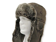 USHANKA TROOPER Brown Pilot AVIATOR Soft Faux Fur Leather Hat Trapper Men and Women 7 3/8