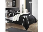 Chloe Plush Microsuede Sherpa Lined Black Queen 7 Piece Comforter Bed Set