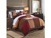 Diana Microsuede Burgundy & Browns King 7 Piece Comforter Bed In A Bag Set