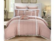Legend Peach & White King 7 Piece Quilted Comforter Bed In A Bag Set
