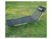 Outsunny Adjustable Reclining Beach Sun Lounge Chair - Black
