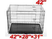 "Pawhut 42"" 3-door Folding Wire Pet Dog Crate w/ Divider - 42""l x 28""w x 31""h"