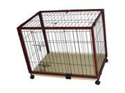 "Pawhut 47"" x 24"" x 28"" Portable Wood Pet Dog Crate w/ Wheels"