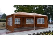 Outsunny 10' x 20' Gazebo Canopy Party Tent w/ 4 Removable Window Walls - Coffee Brown