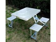 Outsunny Aluminum Portable Folding Outdoor Suitcase Picnic Table w/ 4 Seats - Silver
