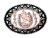 Horse & Horseshoe - Copper Belt Buckle