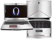 """Decalrus  - Alienware 17 (Released 2013) with 17"""" screen FULL BODY  SILVER Texture Brushed Aluminum skin skins decal for case cover wrap BA13Alien17Silver"""