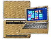 """Decalrus  - Dell XPS 12 with 12"""" Screen Full Body GOLD Texture Carbon Fiber skin skins decal for case cover wrap CFxps12Gold"""