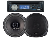 "New Boss 647Ck 1 Din Car Stereo Cd Usb Aux With Pair Of 6.5"" Car Speakers"