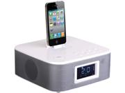 New Power Acoustik Hp210iw White Am Fm Clock Radio Ipod/Iphone Docking & Remote