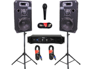 """Podium Pro 10"""" Speakers Monitor Pair, Stands, Amp, Cables, Bluetooth and Mic Set for DJ 1000CSETB"""