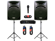 "Podium Pro 15"" Speakers, Stands, Amp, Cables, Bluetooth and Mic for PA DJ Home or Karaoke PP1510SETB"