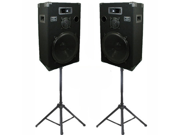 """Podium Pro Studio Speakers 15"""" Three Way Pro Audio Monitor Pair and Stands Set for PA DJ Home or Karaoke 1500CSET1"""