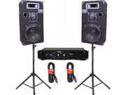"Podium Pro 10"" Speakers, Stands, Amp and Cables with Bluetooth Set for PA DJ Home or Karaoke 1000CSET2B"