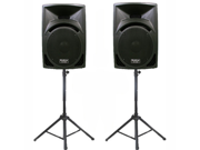 "Podium Pro Studio ABS 10"" Speakers 2 Way Monitor Pair and Stands DJ Set for PA Home or Karaoke PP1010SET1"