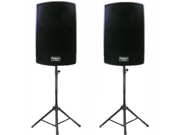 "Podium Pro 1 Pair New Karaoke PA Band 12"" Pro Audio Powered Active Speakers and Stands DJ Set PP1202ASET1"