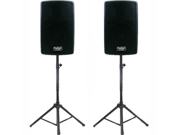 "Podium Pro 1 Pair New Karaoke PA Band 10"" Pro Audio Powered Active Speakers and Stands DJ Set PP1002ASET1"