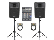 "Podium Pro 1 Pair New Karaoke PA Band 10"" Pro Audio Powered Active Speakers, Mixer, Stands and Cables DJ Set PP1003ASET3"