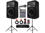 VRTX15 Speakers, Amp, Mixer, Mic and More Technical Pro PA DJ Set New VRTX15SET3