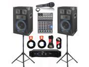 VRTX8 Speakers, Amp, Mixer, Mic and More Technical Pro PA DJ Set New VRTX8SET3