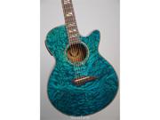 Dean Performer Quilt Ash Acoustic Electric Guitar with Aphex - Trans Blue