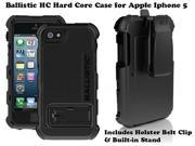 AGF Ballistic HC Hard Core Tough Rugged Case + Built-in Stand Holster & Belt Clip for Apple Iphone 5 Black on Black HC0956M005