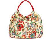 "16.5"" x 20"" Floral Cream and Pink Cotton Snap Purse"