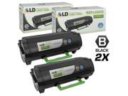 LD © Remanufactured Replacements for Lexmark 50F1X00 (501X) Set of 2 Extra High Yield Black Laser Toner Cartridges