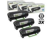 LD © Remanufactured Replacements for Lexmark 50F1X00 (501X) Set of 3 Extra High Yield Black Laser Toner Cartridges