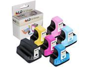LD © Remanufactured Replacement for Hewlett Packard HP 02 Ink Cartridges Set of 6 : 1 Black C8721WN, Cyan C8771WN, Magenta C8772WN, Yellow C8773WN, Light Cyan C8774WN, Light Magenta C8775WN
