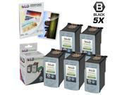 LD © Remanufactured Canon PG50 Set of 5 Black Inkjet Cartridges & Free 20 Pack of LD Brand 4x6 Photo Paper