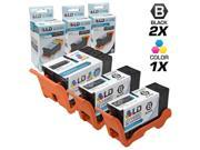 LD © Compatible Set of 3 (Series 21) Standard Yield Black & Color Ink Cartridges for the Dell V313 Printers: 2 Black Y498D, 1 Color Y499D