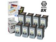 LD © Remanufactured Canon PG30 Set of 8 Black Inkjet Cartridges & Free 20 Pack of LD Brand 4x6 Photo Paper