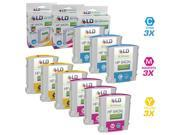 LD © Remanufactured Replacements for Hewlett Packard HP 940XL / HP 940 Set of 9 High Yield Inkjet Cartridges Includes: 3 C9407AN Cyan, 3 C9408AN Magenta, and 3 C9409AN Yellow