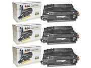 LD Remanufactured Replacement Laser Toner Cartridges for HP CE255A Black (3 Pk) for P3015n, 500 MFP M525f, P3015, MFP M525c, P3015dn, MFP M521dw, P3015x, 500 MFP M525dn, M521dn, P3010 Series, P3015d
