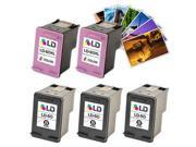 LD © Remanufactured Ink Cartridge Replacements for HP CC640WN (HP 60) Black and HP CC643WN (HP 60) Color (3 Black and 2 Color) + Free 20 Pack of Brand 4x6 Photo Paper