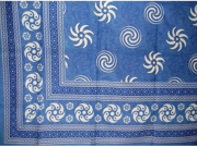Pinwheel Print Tapestry Spread Coverlet Throw Blue 90 x 87