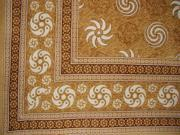 Pinwheel Print Tapestry Spread Coverlet Throw Tan 90 x 87