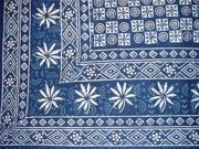 Dabu Indian Tapestry Beach Picnic Bed Many Uses Indigo Blue Twin