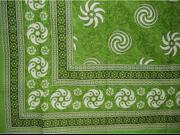Pinwheel Print Tapestry Spread Coverlet Throw Green 90 x 87