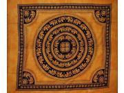 "Mandala Elephant Tapestry Spread Throw Coverlet Versatile 82"" x 92"" Saffron"