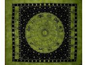 "Astrological Tapestry Spread Throw Coverlet Zodiac 82"" x 92"" Green"