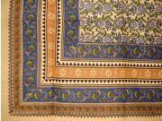 Turkish Floral Print Spread Coverlet Throw 108 x 88 Blue